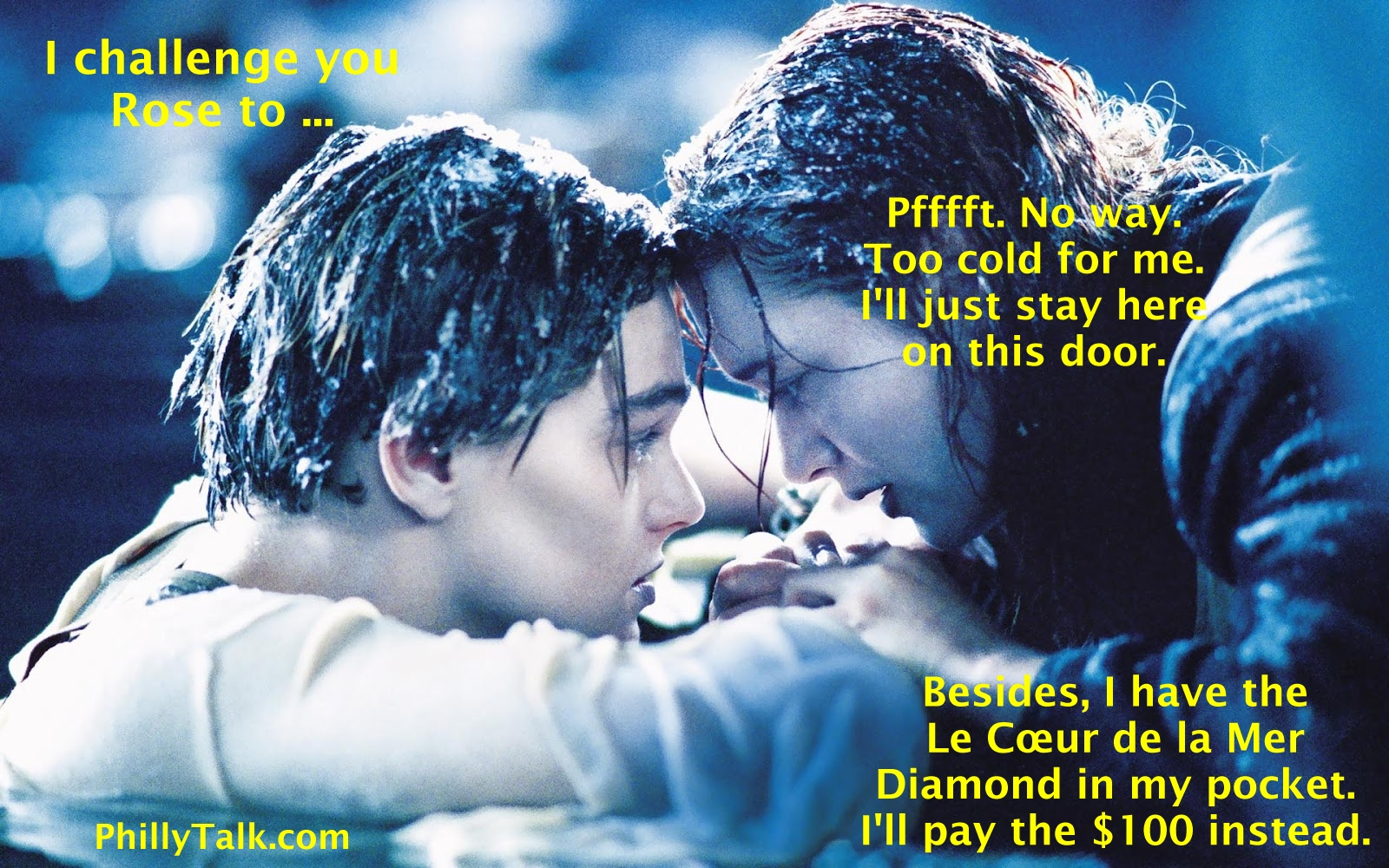 Jack and Rose ALS ice bucket challenge on Titanic